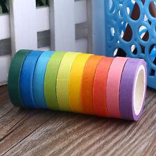 10x Rainbow Washi Sticky Paper Masking Adhesive Decorative Tape DIY Gift