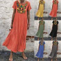 ZANZEA Womens Short Sleeve O Neck Floral Dress Casual Bagg Maxi Dresses Kaftan