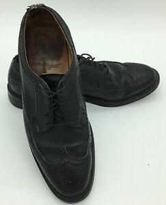 Vtg 60s Imperial Florsheim pointed toe Croc trim black dress shoes leather soles 8 D awesome Ratpack shoes