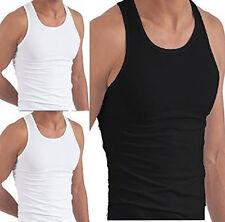 BLACK WHITE SLIM FIT Fine Cotton Sleeveless Gym Vest Singlet Top Multi Pack