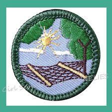 STRESS LESS Jr. Jade Girl Scout BADGE Hammock Sun Trees NEW t Multi=1 Ship Chrg