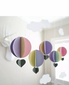 Air Balloon Cloud 3D Garland Pastel Shades Baby Party Event Room Decor Prop 4m💜