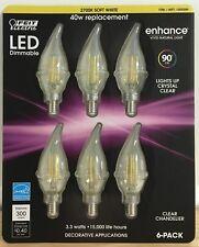 NEW 6 Feit LED E12 Soft White Candelabra Chandelier Light Bulbs 90+CRI 40w 3.3w