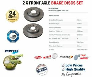 Front Axle VENTED BRAKE DISCS for FIAT PANDA 1.2 4x4 2004->on (Dia 240mm)