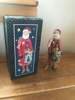 Lang & Wise Classic Resin Santa Claus Holding Toy Bag SANTA'S CHECK Figurine in