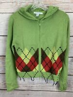 CAbi #370 Green Argyle Zip Front Cardigan Hoodie Sweater Women's Size M