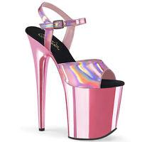 Pleaser FLAMINGO-809HG Women's Baby Pink Hologram Chrome Heels Platform Sandals