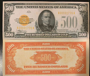 Fantasy Reproduction 1934 $500 Bill Gold Certificate USA Currency Copy New