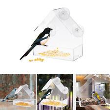 Acrylic Clear Bird House Window Bird Feeder Feed Water Garden Bird Viewing Perch