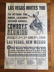Las Vegas NM New Mexico American Legion Cowboy Reunion 1940 Rodeo Poster