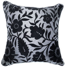 Uf91a Black Flower Leaf on Silver Gray Velvet Style Cushion Cover/Pillow Case