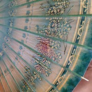 "Vintage Asian Oil/Rice Paper Parasol Umbrella 35"" Diameter"