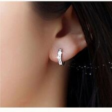 Women Charms 18k White gold Filled CZ Clear Sapphire Hoop Stud Earrings Jewelry