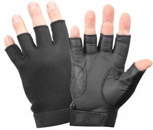 Black Stretch Fabric Fingerless Duty Work Gloves