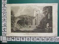 1789 Fecha Antigüedad Yorkshire Estampado ~ Kirkstall Abbey