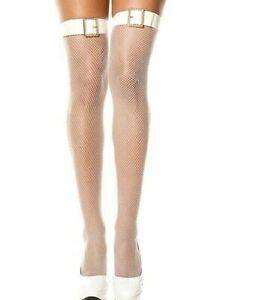 New UK Seller White PVC Belt Fishnet Stockings Cosplay Bridal Xmas
