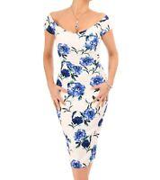New Blue and White Floral Bardot Dress - Midi Length