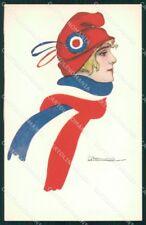 WW1 WWI Propaganda Lady Flag France Nanni cartolina postcard XF8722