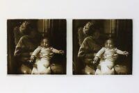 Famille Neonato Francia Foto Stereo Amateur P50L5n9 Placca Da Lente Vintage