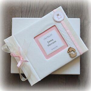 Luxury Personalised BABY GIRL Photo Album/ Handmade Boxed/ Stunning gift