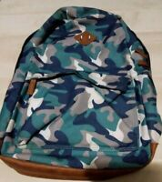 Blue camo backpack full size 17 inches faux leather accents