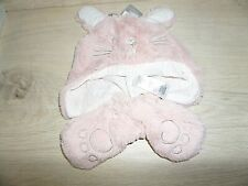 PINK BUNNY PRIMARK HAT AND MITTENS SET BABY 6-12 MONTHS NEW