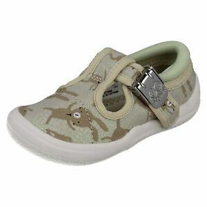 Niña Clarks Doodles Lona Zapatos con Tira - Briley Bow