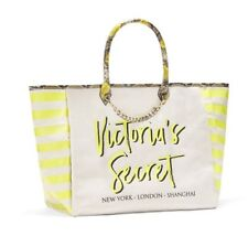 VICTORIAS SECRET ANGEL CITY TOTE BAG - YELLOW STRIPED PYTHON - LARGE - NWT