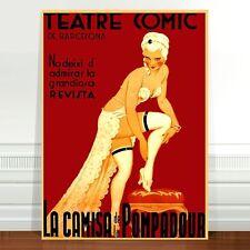 "Vintage French Theater Poster Art ~ CANVAS PRINT 24x18"" La Camisa Pompadour"