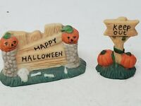 Halloween Village Accessories Happy Halloween Wall and Keep Out Signs