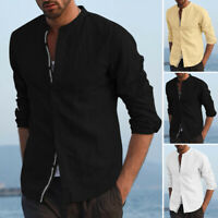 Mens Cotton Long Sleeve Casual Shirt Holiday Beach Tops Tee Blouse Plus Size