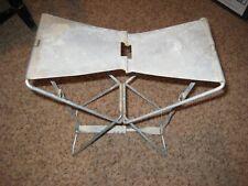 """WW II (?) Era - """"CODACO Products - Detroit"""" Folding Metal Stool - Folds to 6X9X1"""