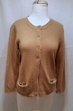 $575. SCHUMACHER Camel color button down cardigan Angora /wool silver Sequins M
