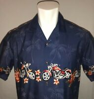 Royal Creations Mens Large Hawaiian Camp Shirt Motorcycle Riding Blue NWOT Aloha
