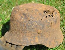 #60 WWII Germany German Original War Damaged Relic Combat Helmet CRUSHED TOP