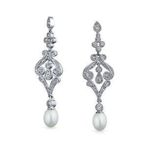 CZ Fertility White Freshwater Pearl Chandelier Earrings Silver Plated