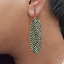 925 Silver Tsavorite Gemstone 14K Gold Fine Mothers Day Gift Dangle Earrings