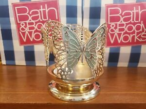 BATH & BODY WORKS PEDESTAL BUTTERFLY GLITTER CANDLE HOLDER  NEW!