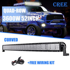 Quad-Row 52inch 3600W Curved LED Light Bar Flood Spot Offroad Driving 4WD SUV 50