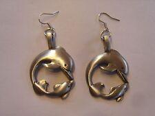 Ohrringe 2 Delphine im Kreis großer und kleiner aus Edelstahl Fisch  2943
