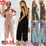 US Women Dungarees Jumpsuits Lopng Pants Overalls Suspenders Wide Leg Trousers