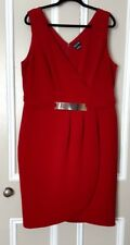 City Chic Dark Red Stretch Dress Gold Plate Trim Size M