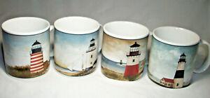 Oneida Sakura: David Carter Brown: BY THE SEA: 4 Lighthouse Mugs:2001: VGC: NR
