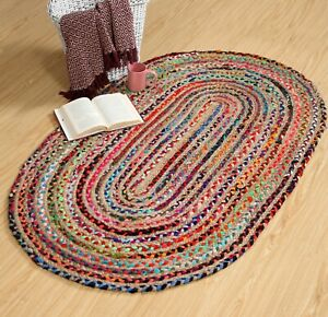 MISHRAN Braided Oval Rug Natural Jute Multi Colour Recycled Small Large Runner