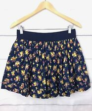 Ardene Womens Skirt L Mini A Line Stretch Elastic Waist Floral Yellow Navy C232