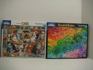 WHITE MOUNTAIN LOT OF 2 1000 PC PUZZLES - WORLD OF CATS/SUCCULENT RAINBOW