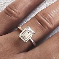 2.00 Ct Emerald Cut Natural Diamond Engagement Solitaire Ring H, VS2 GIA 18K