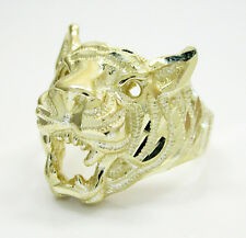 7.70 Grams 10k Yellow Gold Mens Tiger Bengal Head Hip Hop Ring