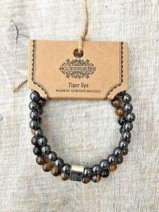Men's Ladies Magnetic Gemstone Healing Bracelet With Brown Bead Tiger Eye Stone