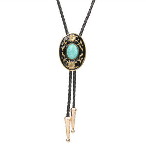 "Flowers Turquoise BOLO Tie Wedding Necklace Leather Rope 40"" Western Cowboy Bola"